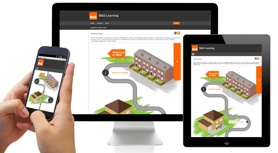 B&Q screens in a computer, tablet and mobile environment