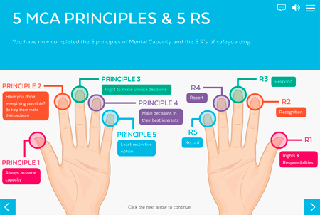 Screengrab from the HCC training showing the 5 MCA principles and 5 RS