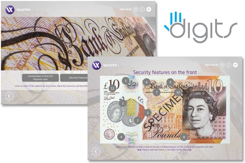 Screens of the Polymer £10 note eLearning