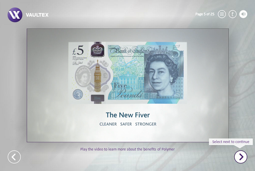 Vaultex eLearning screen showing the new £5 polymer notes