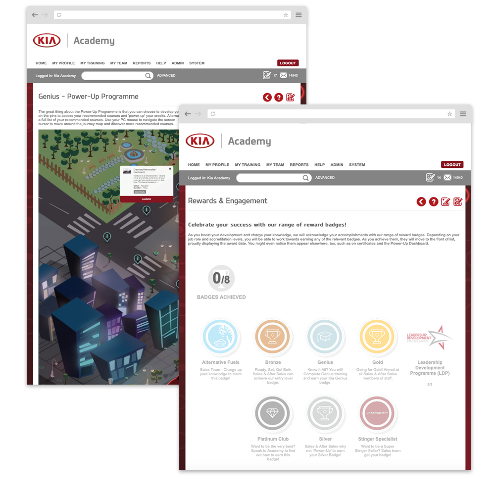 Kia UK gamified LMS features
