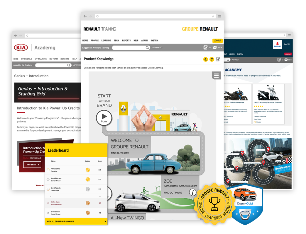 Kia, Renault and Suzuki Visual Learning Journeys and gamified reward points and points available with glo learn LMS.