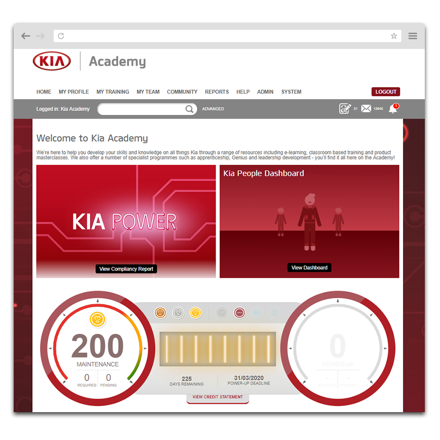 Customisable dashboard that shows reward points on Kia Motors Learning Management System
